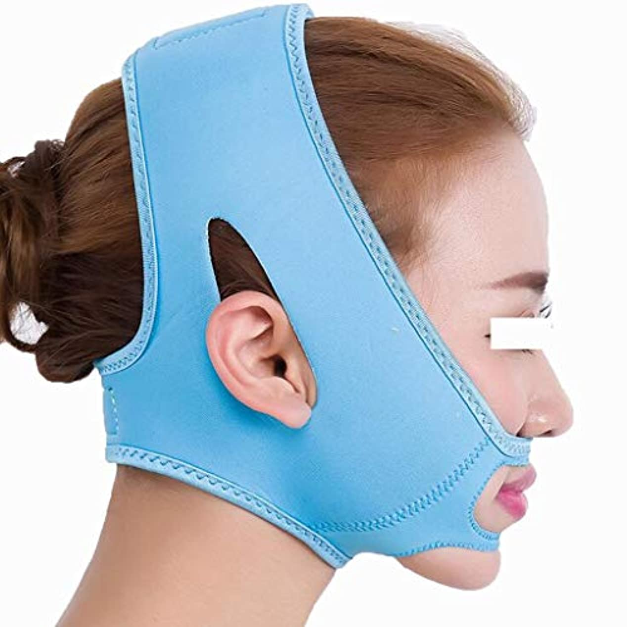 着るキッチン時人気のスリープフェイスマスク - 包帯のマッサージ師のあごvフェイスクローズフェイスリフトフェイスマスク