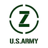 ミリタリー イニシャル Z カッティング ステッカー ダークグリーン 深緑