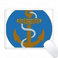 青、白、金セイルボートアンカーエンブレム PC Mouse Pad パソコン マウスパッド