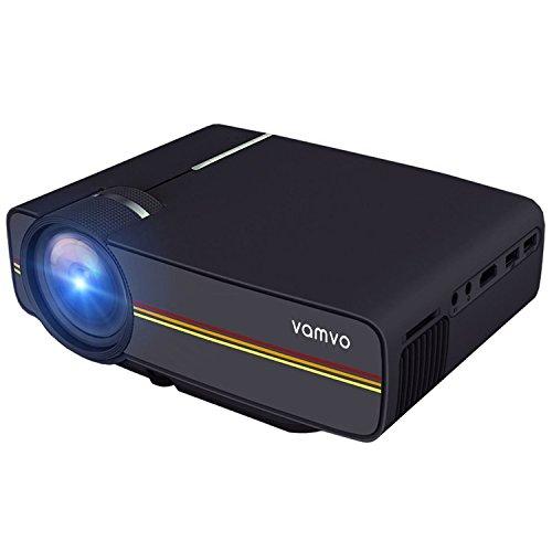 Vamvo LED プロジェクター 1200ルーメン 1080P 130インチAVケーブル付属 ホームシアター パソコン/スマホ/タブレット/ゲーム機など接続可能 USB/SDカード/HDMI/AV/VGAサポート
