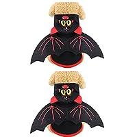 Yudesunyds 小型犬 猫 フリースコスチューム - 2個セット ジャンパー フード付き Tシャツ ジャケット コート 暖かい ペット服 プルオーバー ハロウィーン 冬 子犬用