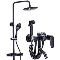 シャワーシステムオイルが黒で黒く塗られた、4スピードシャワーセット - 調節可能なスライドバーレインシャワーとハンドヘルド - 壁に取り付けられた - あなたの家にスパを連れてくる