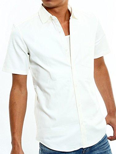 インプローブス 半袖 シャツ オックスフォード スリムシャツ ストレッチシャツ メンズ ホワイト L サイズ