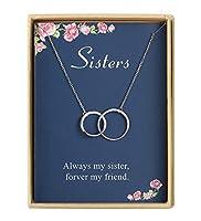 姉妹への誕生日プレゼント 繊細な2つのインターロッキングインフィニティダブルサークル スターリングシルバーネックレス 女性や友人への誕生日プレゼント 女性用ジュエリー
