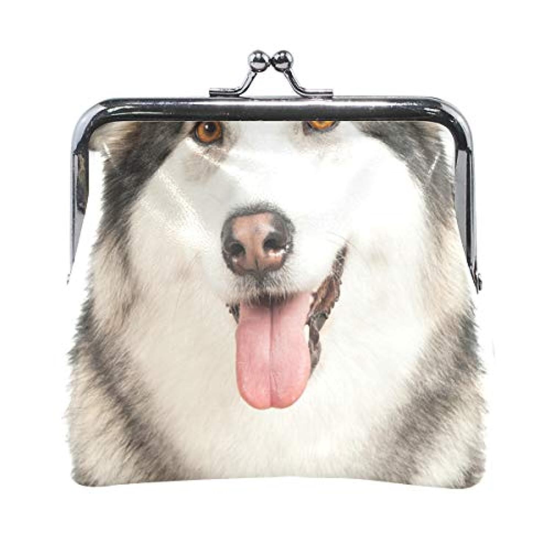 AOMOKI 財布 小銭入れ ガマ口 コインケース レディース メンズ レザー 丸形 おしゃれ プレゼント ギフト オリジナル 小物ケース アラスカ 犬柄