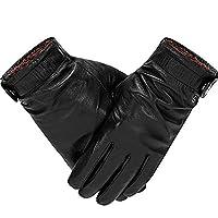 革のメンズと女性の暖かいタッチスクリーンシープスキンファッション手袋 (Color : Black, サイズ : S)