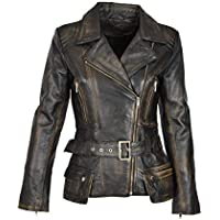 Womens Real Leather Fitted Hip Length Waist Belted Biker Jacket Celia Rub Off