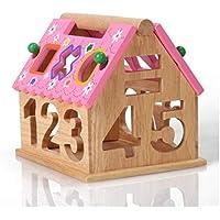 幼児期のゲーム 取り外し可能な組み合わせ知恵の家の幾何学デジタルハウス子供の木製のおもちゃ(カラフル)