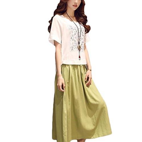 (リザウンド) ReSOUND 綿麻 セットアップ ( Tシャツ + ロング スカート ) 夏 レディース 白 + 緑 XL 236