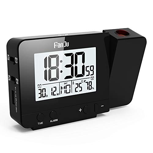 FanJu FJ3531B 投影時計 温度と時間の投写を伴う投影アラームクロック/USB充電器ポート/室内温度と湿度/スヌーズ機能付きの手動時間調整/カレンダー/ダブルアラーム