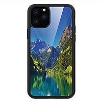 iPhone 11 Pro Max 用 強化ガラスケース クリア 薄型 耐衝撃 黒 カバーケース 景観 スイスアルプスの山とメドウの森静かな湖と小さな古い村 ブルーグリーン iPhone 11 Pro 2019用 iPhone11 Proケース用