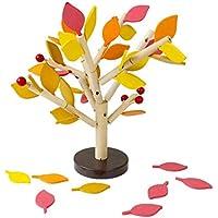 SODIAL 子供のための木製のビルディング?ブロック ツリーセット 積み木 子供の幼稚園と女の子DIY教育3D木製の組み立てられたおもちゃ タイルゲーム ホームオフィスの装飾 4色の葉