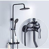 シャワーセット、ブラック銅8インチビッグトップスプレー - 3つのアウトレットシャワー柔軟性 - 調節可能なシャワー - バスルームモダンレインシャワーセット - あなたの家にスパをもたらす