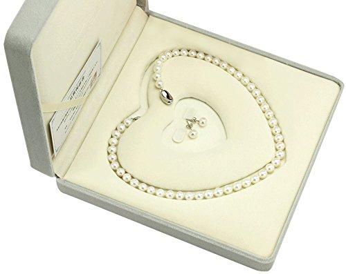 冠婚葬祭用 本真珠ネックレス&ピアスセット(またはイヤリングセット) 7.5-8.0mm 真珠専用ハートキーパーボックス付 【品質保証】