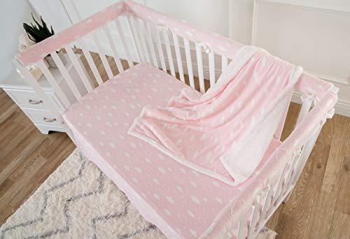 American Baby Company American Baby Company Heavenly Soft 5 Piece Crib Rail Bedding Set, 3D Pink, for Girls