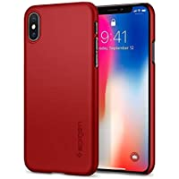 【Spigen】 スマホケース iPhone X ハードケース 磁石カーホルダ対応 シン・フィット 057CS22109 (メタリック・レッド)