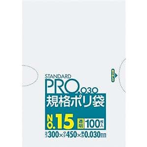 スタンダードポリ袋 No15 透明 100枚入 L-15
