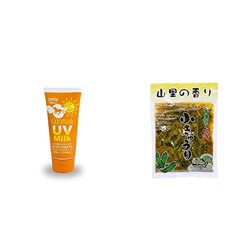 吸収する猫背砂漠[2点セット] 炭黒泉 Q10馬油 UVサンミルク[天然ハーブ](40g)?山里の香り 青唐辛し味噌 小きゅうり(250g)