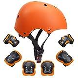GLAF ヘルメット こども用 キッズ プロテクターセット 自転車 ヘルメット 9-12歳 頭囲55~57cm 子供用 保護具 超高耐衝撃性 耐久性 軽量 サイクリング スケートボード ローラースケート (オレンジ, M(55CM~57CM))