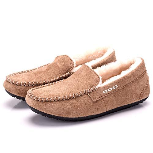 [Fashion city] モカシン ムートン シューズ 靴 レディース フラット ぺたんこ 抗菌防臭 スウェード パンプス モカシンシューズ (250mm, Khaki)