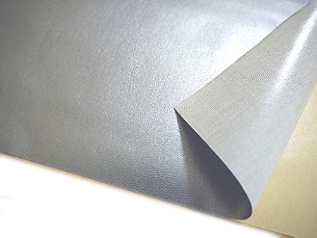 解放するアルバニー補助金簡単! 貼るレザー(シールタイプ) 合皮生地 薄手 シルバー ツヤあり [N-SLCAP-19]