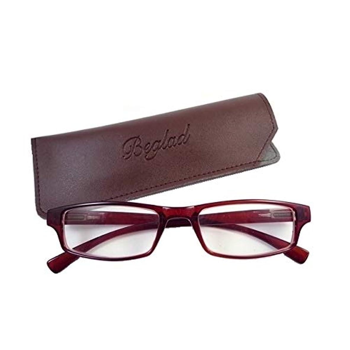 弁護士ポスターイタリアのビグラッド(BEGLAD) 老眼鏡 ブラウン 度数:+1.50 おしゃれなケース付 BGT1009BR