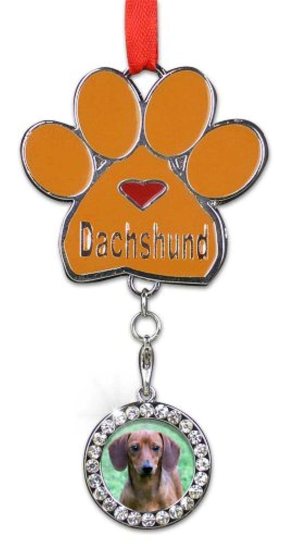 ダックスフントクリスマスオーナメント – I Love My Dachshund Pawprintのフォトチャーム – 犬クリスマスオーナメント