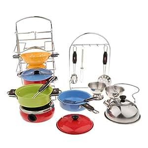 B Blesiya 4サイズ選ぶ ステンレス鋼 食器 調理器具 おままごとおもちゃ キッチン ふり遊びおもちゃ - 18個