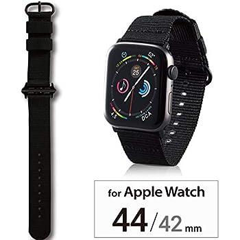 エレコム Apple Watch バンド 44mm/42mm ファブリック   ブラック AW-44BDNATBK