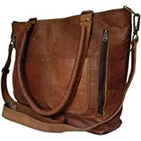 Madosh, Women's Genuine Leather Brown Vintage Crossbody Messenger Bag Ladies Shoulder Handbag Satchel Evening Bag