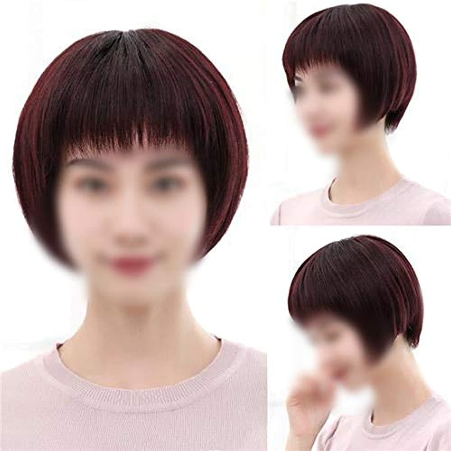 平手打ち言語致死YOUQIU 女性の中年ウィッグウィッグボブショートストレート髪のフルハンド織実ヘアウィッグ (色 : Dark brown)