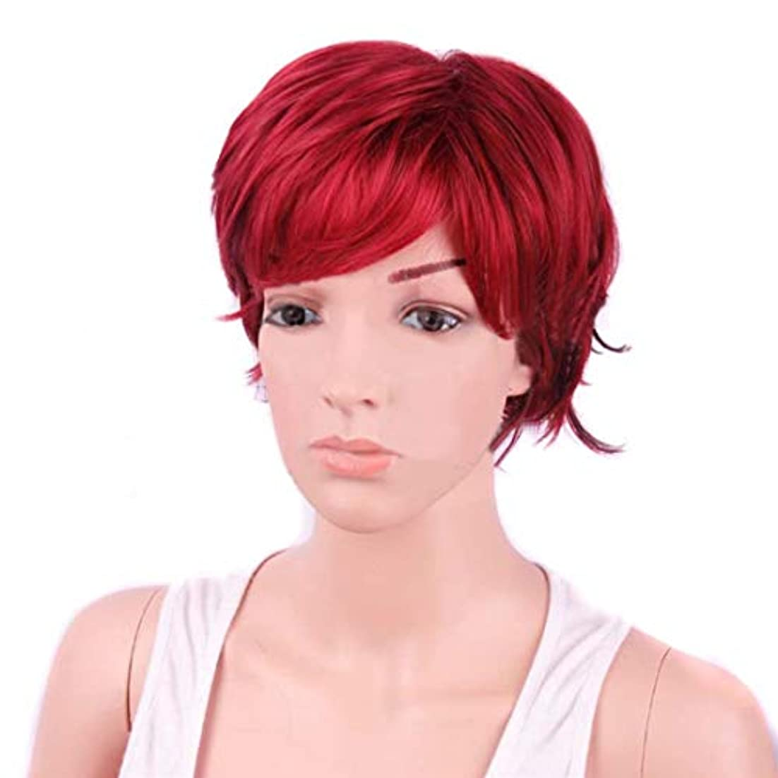シェル従順調和JIANFU 女性のためのボボのかつら耐熱ウィッグ12inch / 9inchの短いテクスチャ部分的な斜めのBangsウィッグと部分的なウィッグ (Color : Wine red)