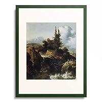 Allaert van Everdingen 「Landschaft mit Wasserfall.」 額装アート作品