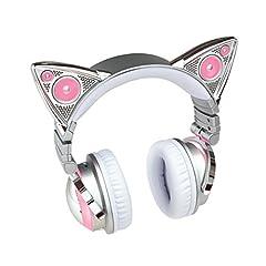 ネコ耳ヘッドフォン 第2世代 白色 8色 自由変換5種 Bluetooth マイク 内臓 USB LED [並行輸入品]