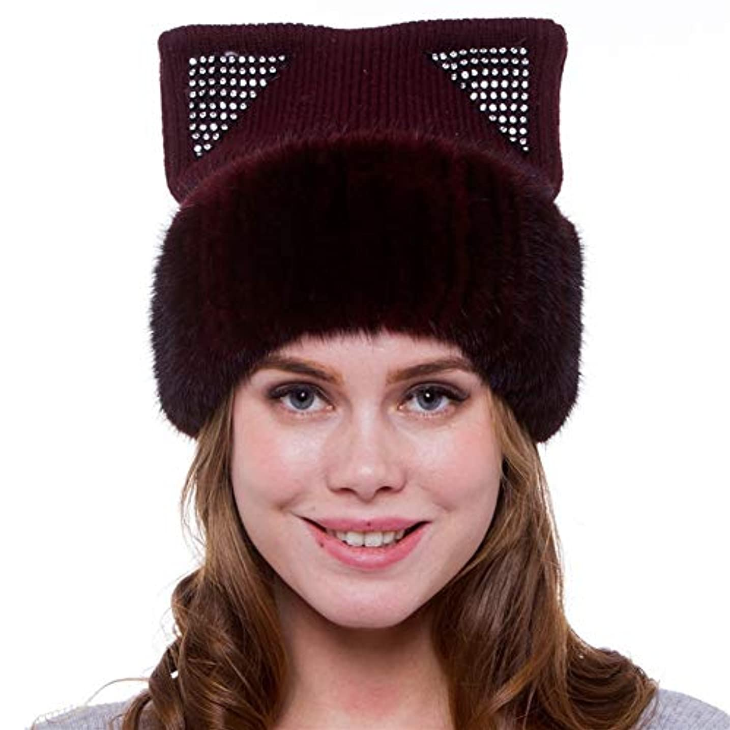 磁気だらしない大邸宅ACAO ヨーロッパとアメリカの大きなヤード暖かいイヤーキャップ内さんの秋と冬のニットミンクの毛皮の帽子 (色 : Purple)