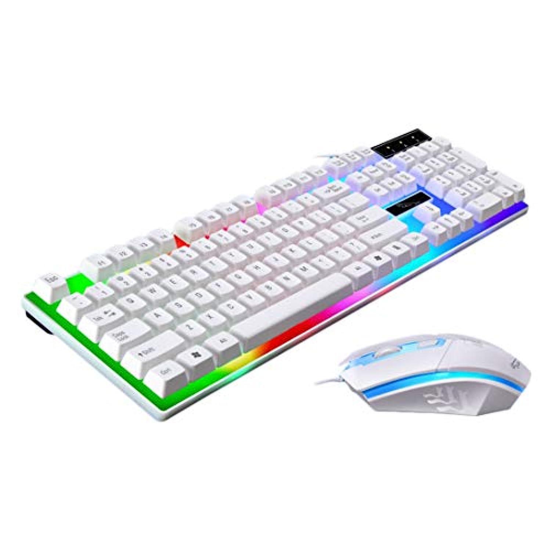 Swiftgood レインボーバックライトLED、ゲームマウス&マウスキーボードセットによるゲームキーボードメカニカルタッチフィーリング
