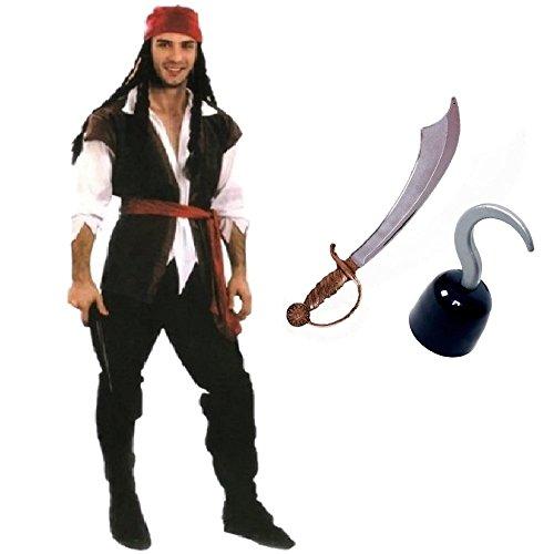 【ELEEJE】ハロウィン 大人用 海賊 コスチューム & 海賊剣 鈎手 アイテム3点セット (L, メンズ)