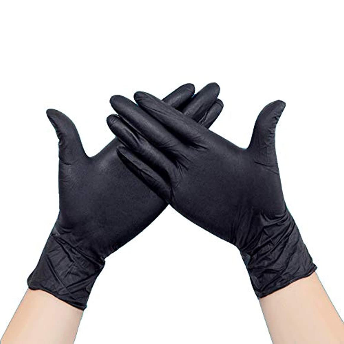 ドメインくびれたバッチニトリル手袋 使い捨て手袋 メカニックグローブ 50枚入 家庭、クリーニング、実験室、ネイルアート ブラック 帯電防止手袋 左右兼用