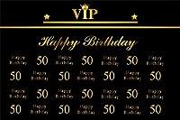 CSFOTO 10x7フィート 背景幕 ゴールド VIP Happy 50th 誕生日パーティー 装飾 写真 背景 王冠 Happy Birthday Bash Ornate Noble Royal Anniversary セレブレーション 写真スタジオ小道具 ビニール壁紙