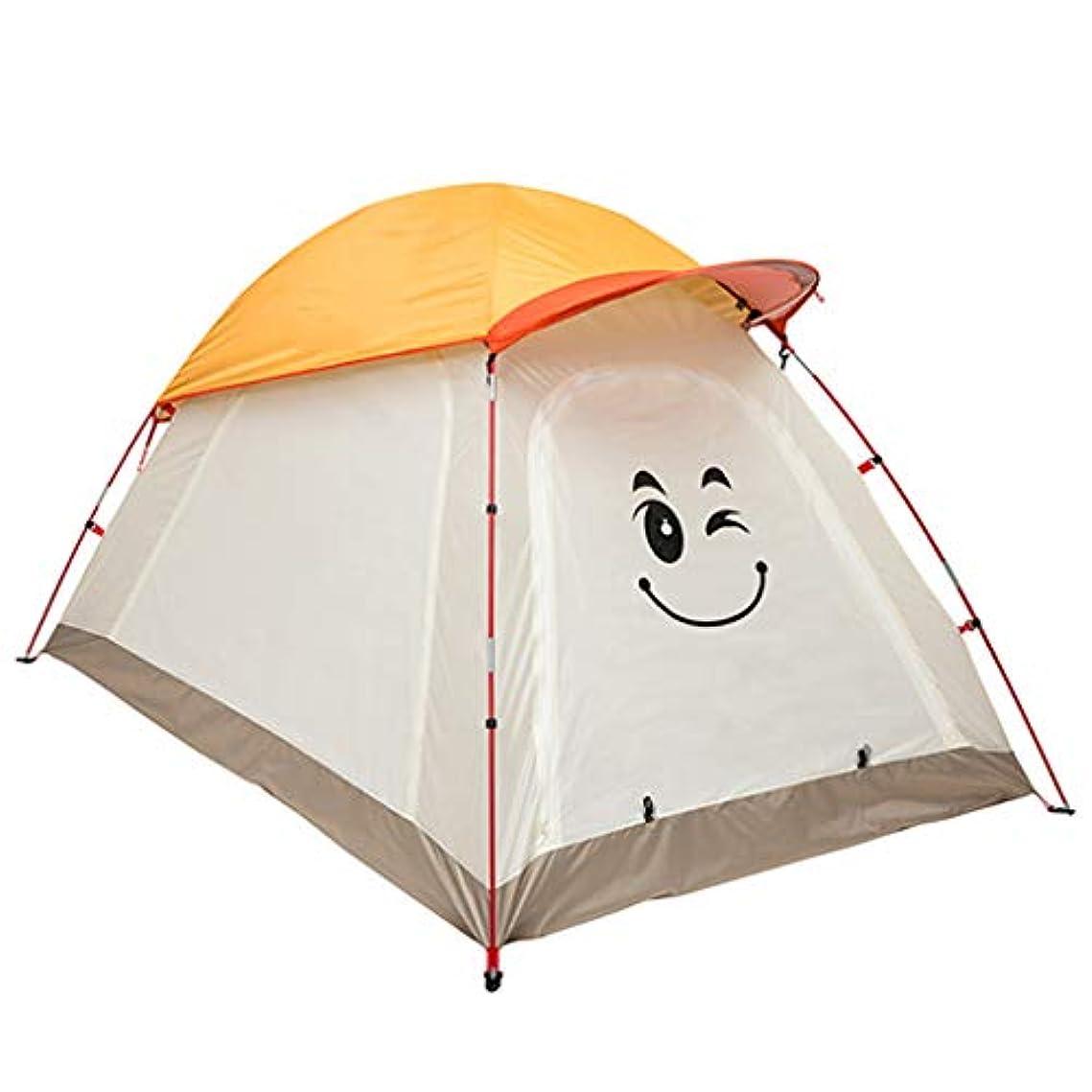 違反涙緊急IDWOI テント 子テントキャンプ屋外防水軽量漫画ドームテント夏親子テント、3色 (Color : Orange)