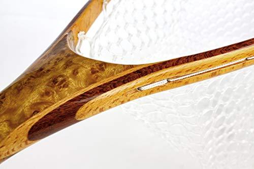 フライ ランディングネット 銘木製 ラバーネット 渓流 曲柄 小型 大型 フィッシングネット 3.5kgネオジウム磁石 (銘木-大型-ストレートハンドル)