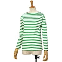 [SAINT JAMES【セントジェームス】]ボートネック長袖バスクシャツ ウエッソン OUESSANT NEIGE/GOLF ホワイト/グリーン