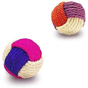 YATDA 猫 おもちゃ 猫 ボール 噛むおもちゃ 麻縄 ボール 運動不足やストレス解消 ダ イエット レーニングなど 猫遊び用 (色組み合わせ)