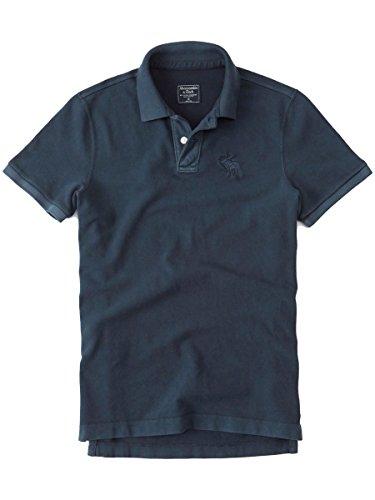 (アバクロンビー&フィッチ) アバクロ メンズ ガーメント染め 半袖 ポロシャツ [ネイビー/BIG MOOSE] 並行輸入品 XL