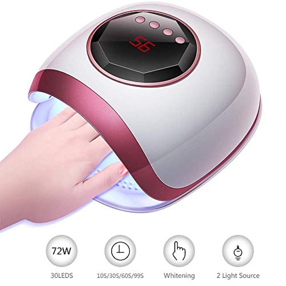 時計冷凍庫気になるジェルポリッシュ用72W UV 30 LEDネイルランプ、4タイマー設定センサー付きネイルドライヤー、デュアル光源、ホワイトニング機能ネイルランプドライヤー(爪&足指用)