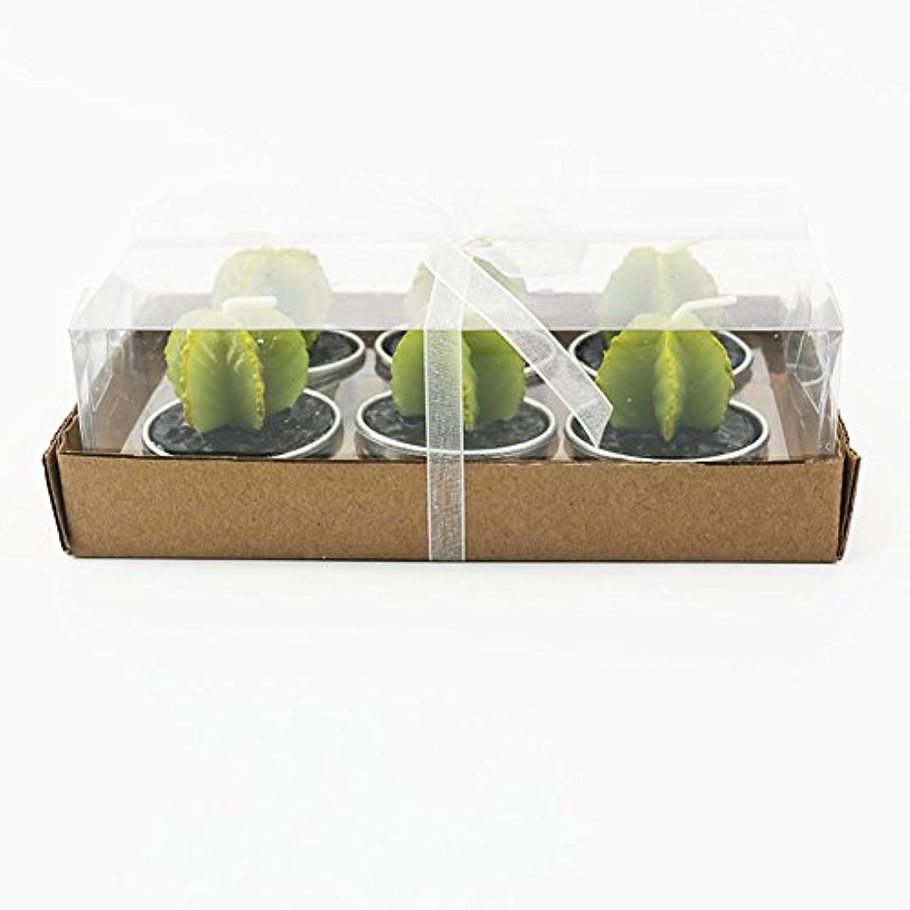 結婚式目的お茶Liebeye キャンドル 多肉植物スモークフリーのクリエイティブなキャンドル100%自然のワックスかわいい模造植物フルーツの形状低温キャンドル 6個/箱 ゴレンシボックス