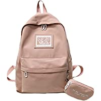 Simple Solid Color Cartoon School Bag, Teenagers Student High Capacity Light Breathable Waterproof Nylon Schoolbag, 13-18 Girl Backpack with Pouch,Pink