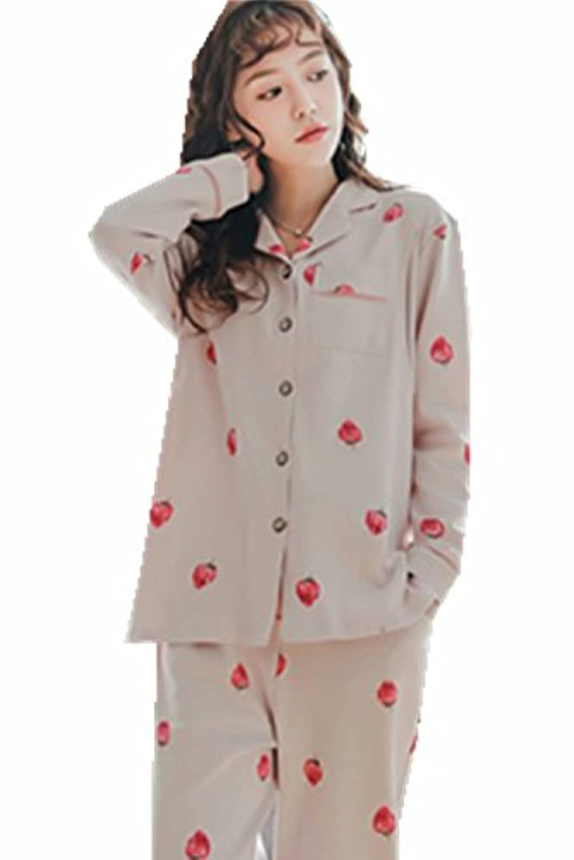 [アビコ]ABICO マタニティ パジャマ 折り襟 長袖 可愛い いちごプリント 綿 授乳服 授乳口付き ウエスト調節 妊婦服 産前 産後 パジャマセット オールシーズン