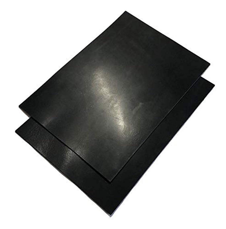 冗談で窓を洗うデンマークA4サイズ カットレザー1枚 A級オイルワックスヌメ革 墨黒 2mm