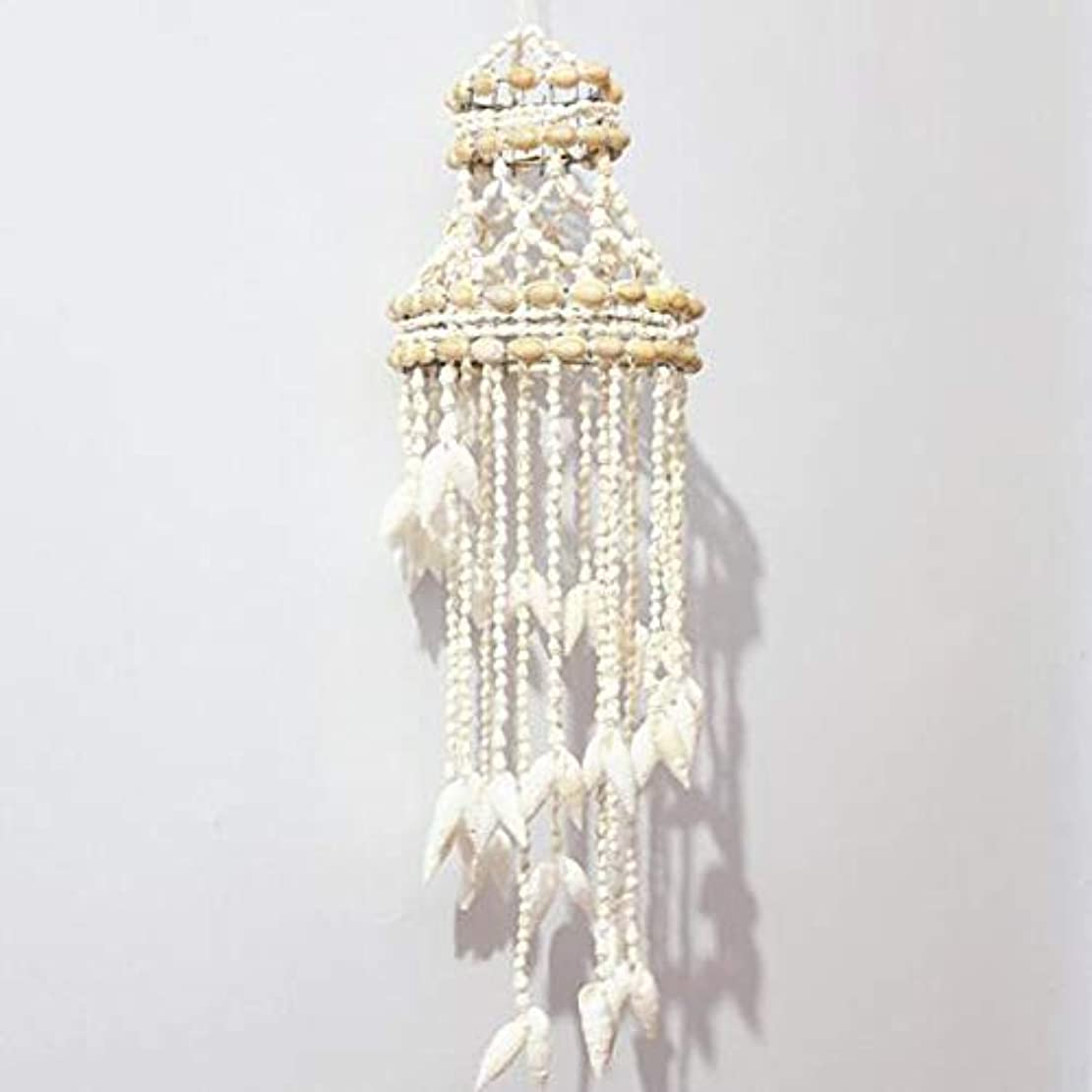 少し煙突物理Aishanghuayi 風チャイム、ナチュラル手作りシェル風の鐘、ホワイト、約長さ50cm,ファッションオーナメント (Color : B)